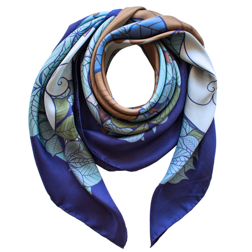 Foxes, Night – Luxury Silk Scarf, Silk Scarves, Foulards, Made in England, Contemporary Scarves, Town and Country, British Style