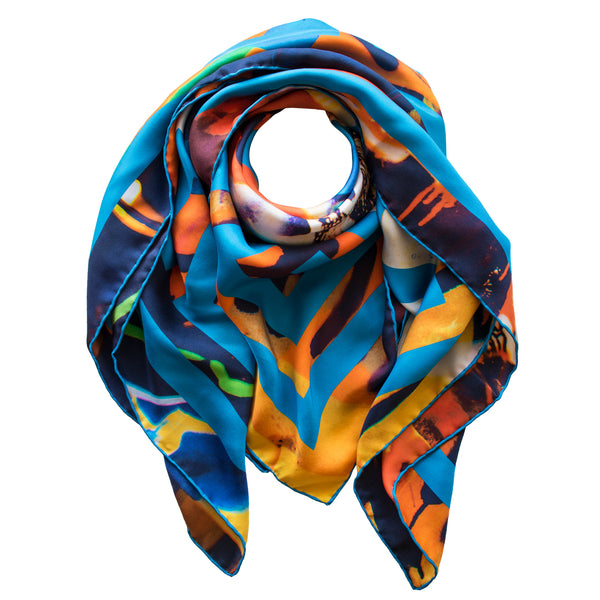 Street Art Silk Scarf, Graffiti Luxury Accessories, Silk Scarves Athens, Silk Square, Attica, Luxury Gift, Made in England