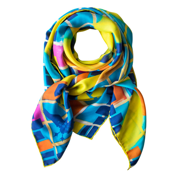 Street Art Silk Scarf, Graffiti Foulard, Silk Scarves London, Silk Square, Luxury Gift, Made in England