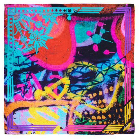 Melbourne Graffiti – Luxury Pure Silk Scarf UK, English Silk, 100% Silk Scarves, Luxury Scarves, UK Scarf, Accessories Brand UK, Designer Accessories, Unisex Accessories, Colourful Scarf, Rainbow Scarf, London, UK, England, Brighton