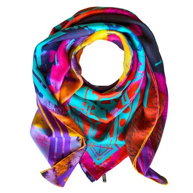 Luxury Pure Silk Scarf UK, English Silk, 100% Silk Scarves, Luxury Scarves, UK Scarf, Accessories Brand UK, Designer Accessories, Unisex Accessories, Colourful Scarf, Rainbow Scarf, London, UK, England, Brighton