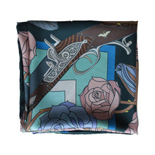 Guns and Roses, Antique Elephant Gun, Designer Silk Scarves, Guns Floral Print, Foulard, Luxury Silk Scarf, Silk Square, Luxury Accessories Brand, Hunting Rifle, British Fashion Brand, Made in England