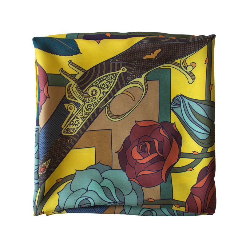 Guns and Roses, Designer Silk Scarves, Guns Floral Print, Foulard, Luxury Silk Scarf, Silk Square, Luxury Accessories Brand, Hunting Rifle, British Fashion Brand, Made in England