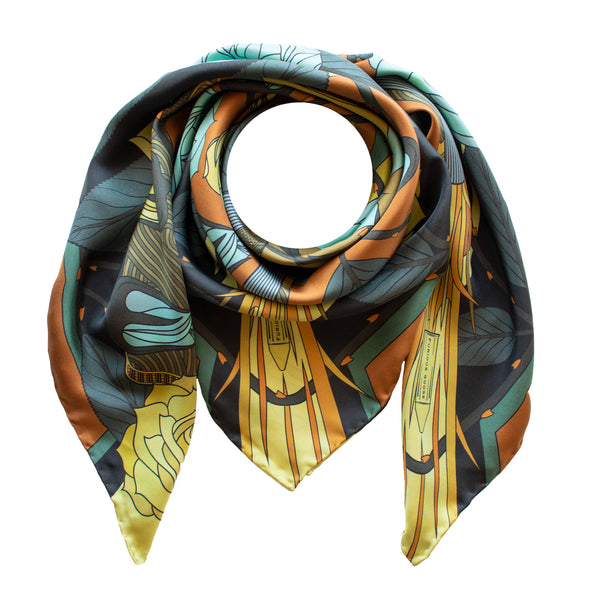 Gold Ladies Scarf, Guns and Roses, Antique Gun, Metallic Designer Silk Scarves, Guns Floral Print, Foulard, Luxury Silk Scarf, Silk Square, Luxury Accessories Brand, Floral Print, British Fashion Brand, Made in England