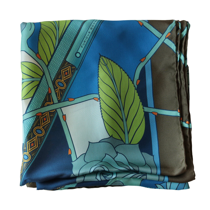 Guns and Roses, Ottoman Antique Flintlock, Designer Silk Scarves, Guns Floral Print, Foulard, Luxury Silk Scarf, Silk Square, Luxury Accessories Brand, British Fashion Brand, Made in England