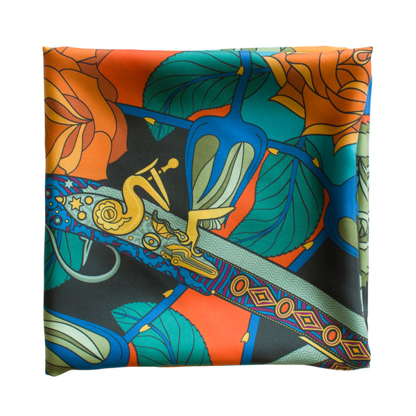 Guns and Roses, Paris Scarf, Ottoman Antique Flintlock, Designer Silk Scarves, Guns Floral Print, Foulard, Luxury Silk Scarf, Silk Square, Luxury Accessories Brand, British Fashion Brand, Made in England