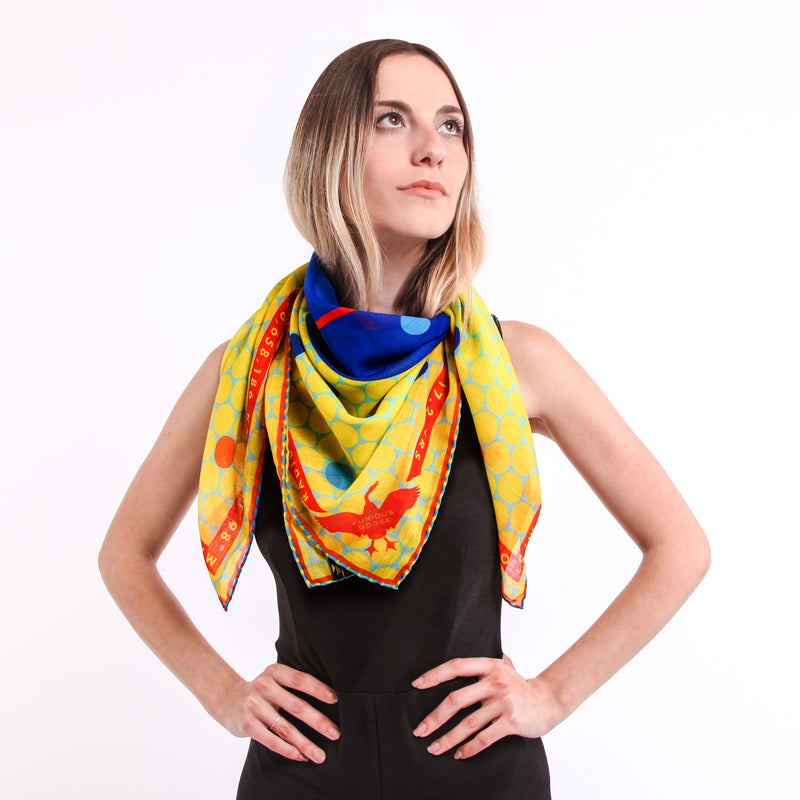 Luxury Scarf UK, Merino Wool, Silk Contemporary, Gift for Aquarius, Science Gifts, Wearable Art, Berlin, New York, London