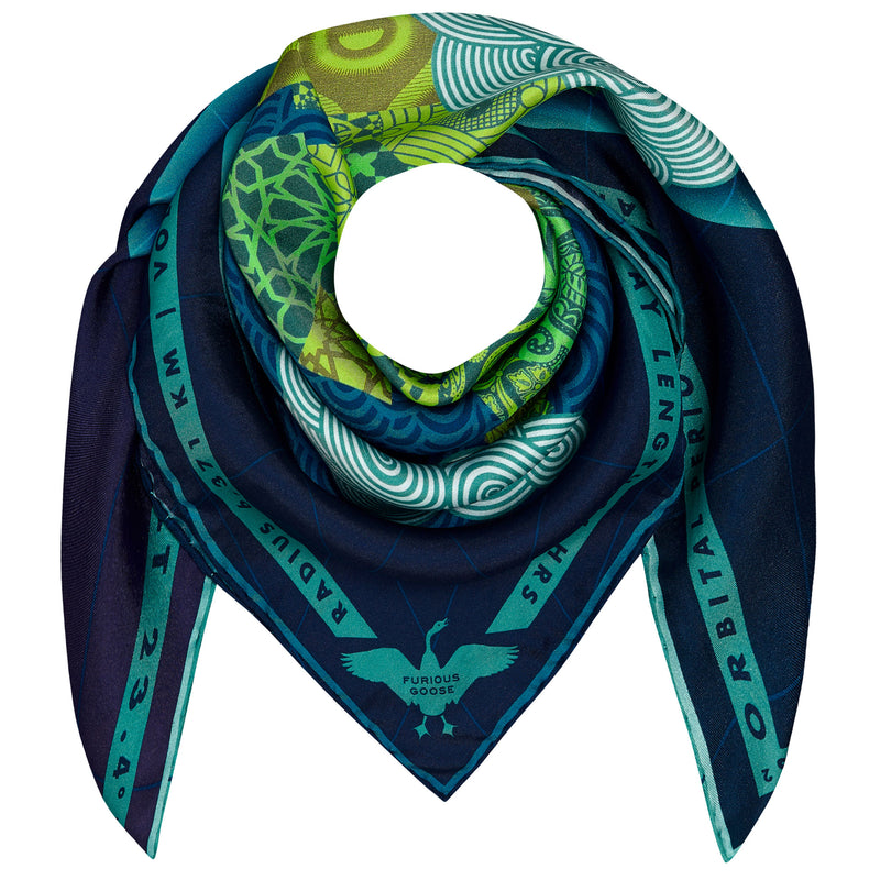 Luxury Silk Scarf UK, Earth, Planet Earth, Gaia, Gift Ideas, Luxury Gift UK, London, Milan, Moon Landing