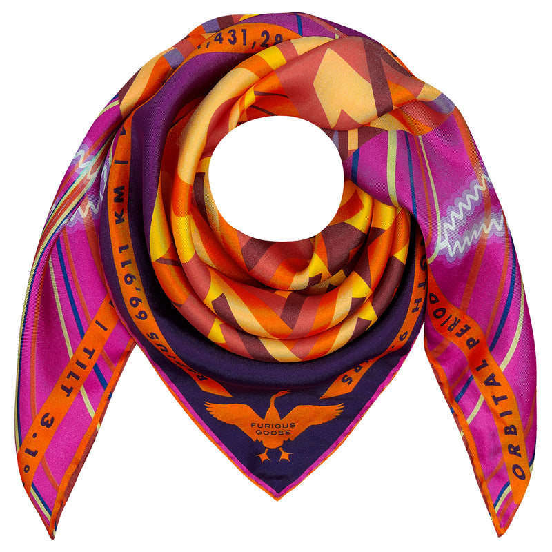 Designer Silk Scarves UK, Jove, Planet Jupiter, Gift Ideas Sagittarius, Luxury Gift UK, London, Paris, Science Gifts