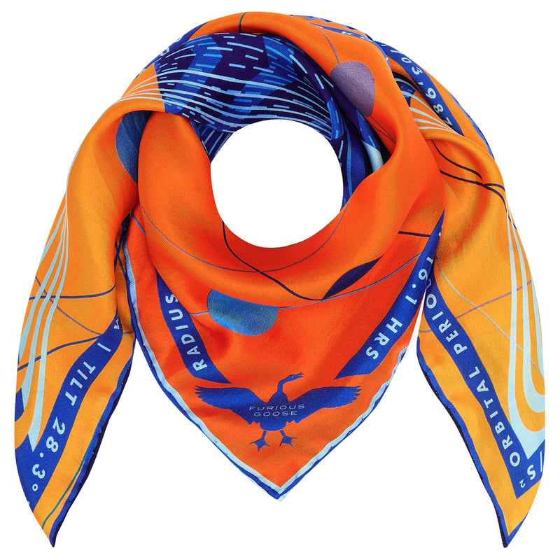 Neptune Scarf, Luxury Scarves UK, Gifts for Pisces, Piscean Gifts, Merino Wool, Silk Twill, Made in UK, London, New York, Paris