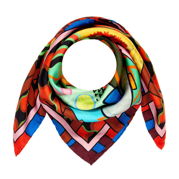 Luxury Silk Scarf, Silk Scarves, Designer Neckerchief, Wearable Art, Trans Art, Pop-Art, Made in UK