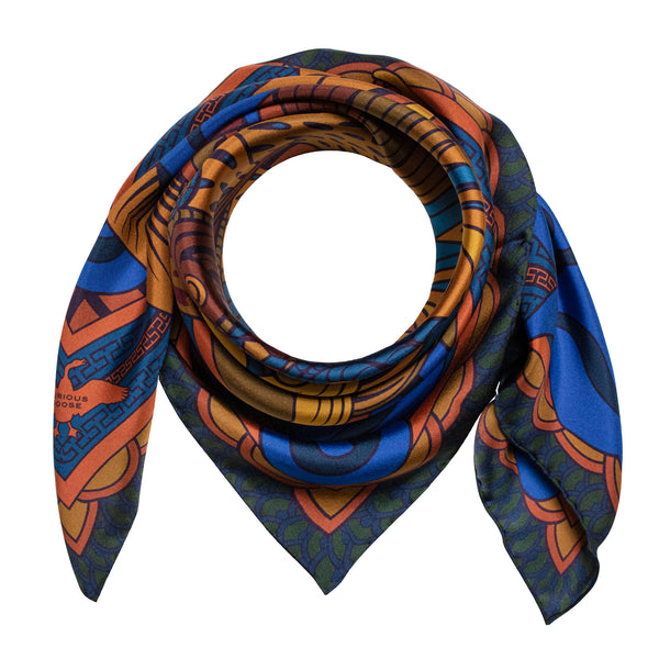 Warm Coloured Silk Scarf Featuring Chinese Dragon and Cloud Motif, Neckerchief, Luxury Scarves, Gifts for her and for him, Made in UK