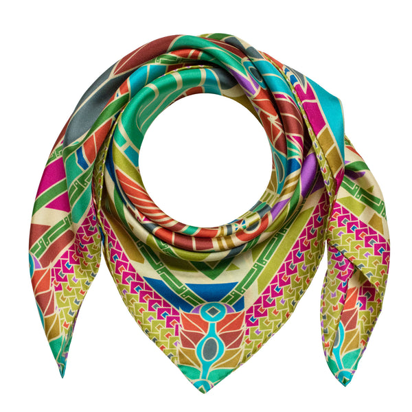 Luxury Silk Scarf, Multicoloured, Dragons, Scarves, Pure Silk, Quetzalcoatl, Dragon Scarves, Made in England, London, UK