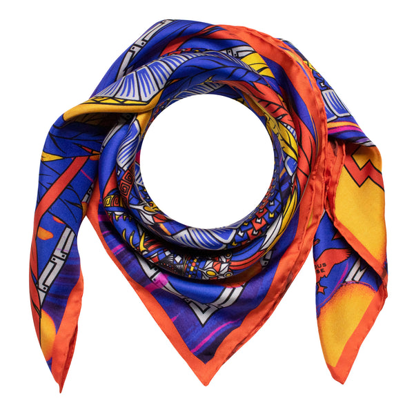 Primary colours, Silk Scarves, Luxury Scarf, Dragons, Quetzalcoatl
