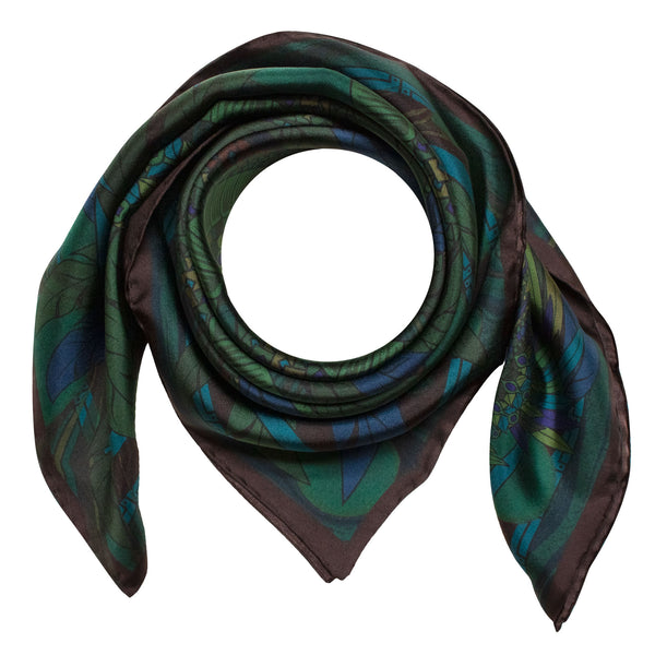 Green scarf, Dragon Scarves, Silk accessory, Gift Idea, Quetzalcoatl, Luxury Foulard, UK, London