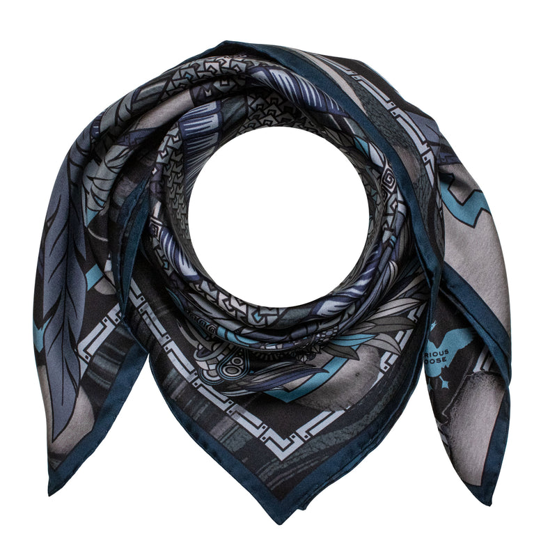 Monochrome Silk Scarf, Dragons, Quetzalcoatl, Grey Scarves, Foulard, Made in UK