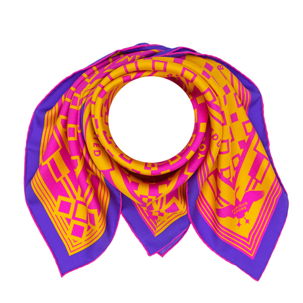 Bold Silk Scarf, Oscar Wilde Quotes, Luxury Foulard, Pink Orange Purple, London, UK