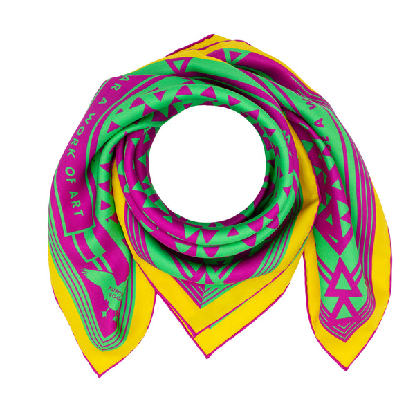Colourful silk scarf featuring Oscar Wilde's Quotes, Geometric Design, Magenta, Green, Lemon Yellow,, Luxury Scarf, Designer, British Brand, London, UK