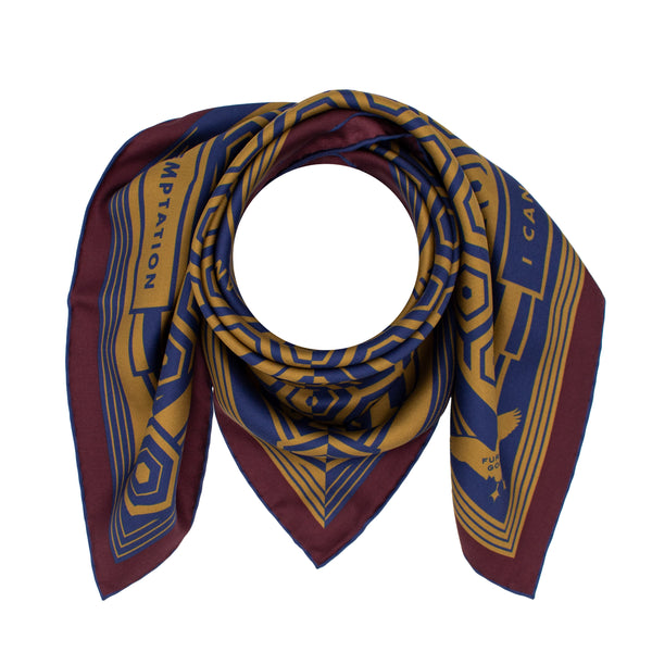 Gold Navy Silk Scarf, Oscar Wilde Quotations, Luxury Accessories, London, UK