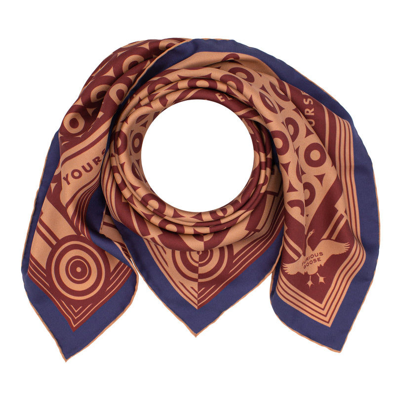 Oscar Wilde, Brown Navy Scarf, Silk Neckerchief, Luxury Accessory, Gifts for him, Gifts for her, British Brand, Foulard, UK, London