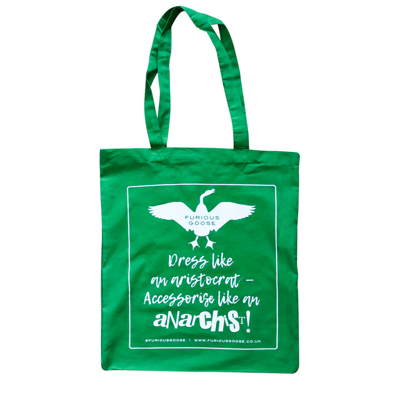 Green cotton tote bag, luxury accessories brand, pocket squares uk