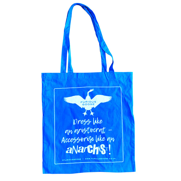 Blue cotton tote bag, luxury accessories brand, pocket squares uk