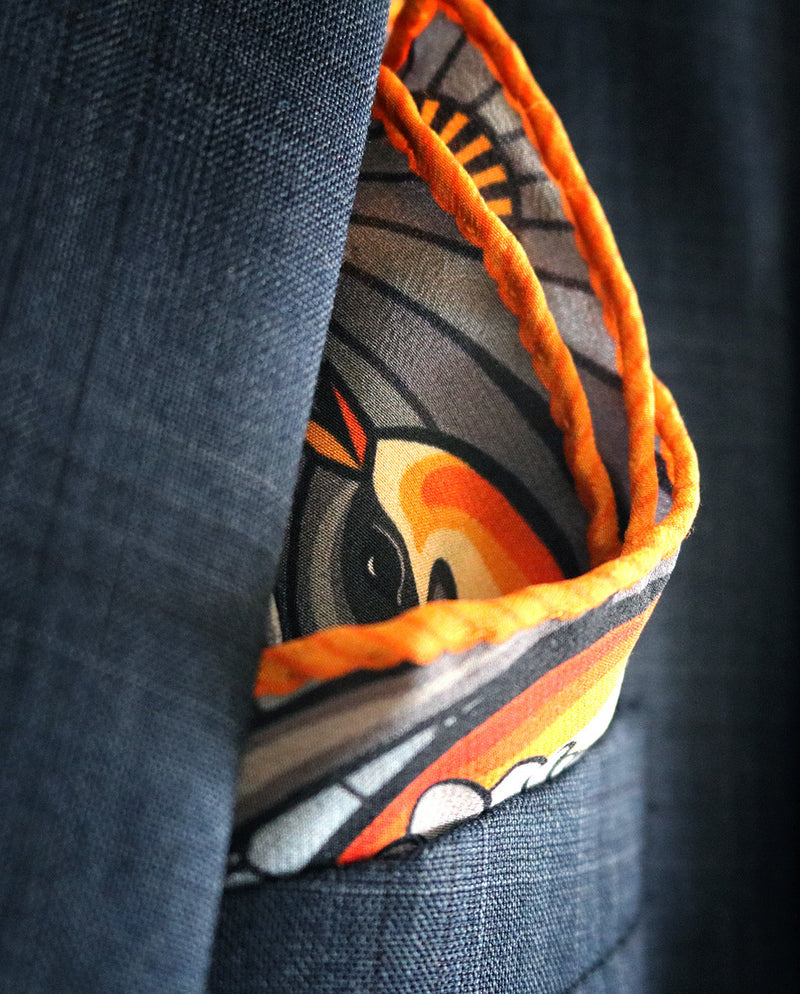 Tattoo pocket squares uk, pocket square, luxury pochette, contemporary silk square, neckerchief, London, Mayfair