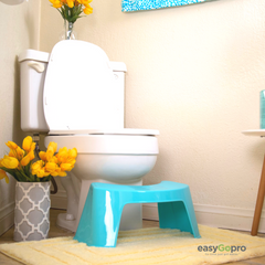 "<img src=""easygopro.jpg"" alt=""adult toilet stool in a pretty bathroom with a yellow rug, the really pretty blue is in front at the base of the toilet which is white show how it adds to the decor while being available for use for healthy reasons"">"