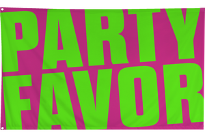 Party Favor Large Festival Flag - Pink/Lime Green