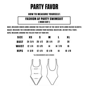 FASHION AF PARTY SWIMSUIT - RED (High Cut Sides / Low Back)