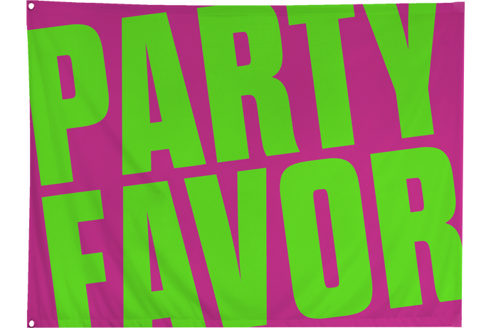 Party Favor Small Festival Flag - Pink/Lime Green