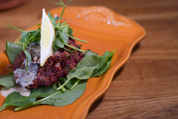 Biltong and beetroot fritter