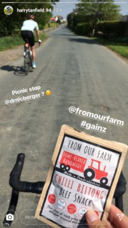 harry tanfield cycling with biltong