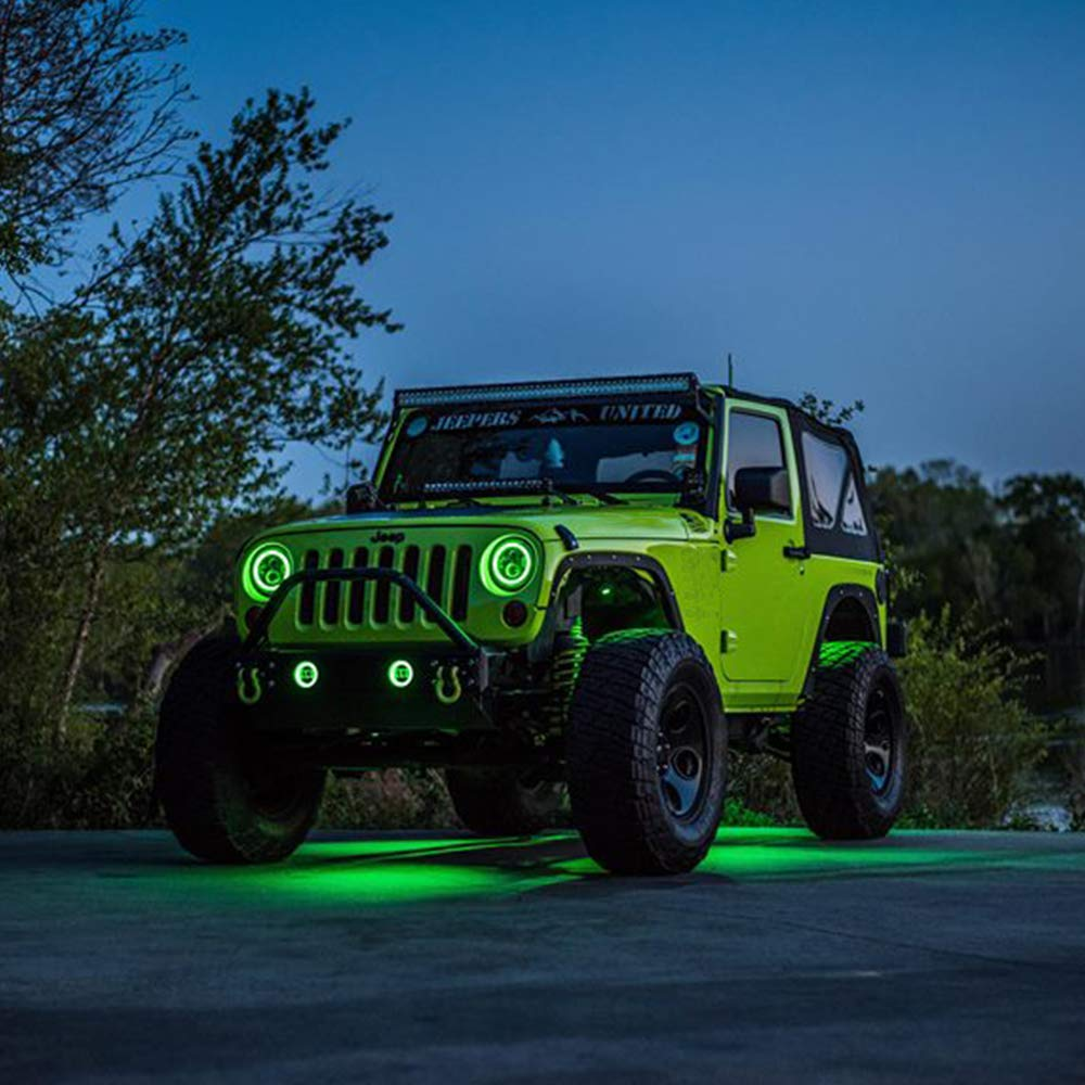 "Aftermarket 7"" LED Color Change Halo Headlights For (97-18 Jeep Wrangler)"