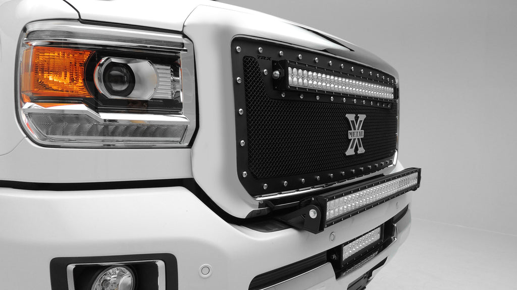 FRONT BUMPER TOP LED LIGHT BAR MOUNT KIT W/30 INCH LED LIGHT BAR 15-PRES SILVERADO/SIERRA 2500/3500 INCLUDES UNIVERSAL WIRING HARNESS ZROADZ
