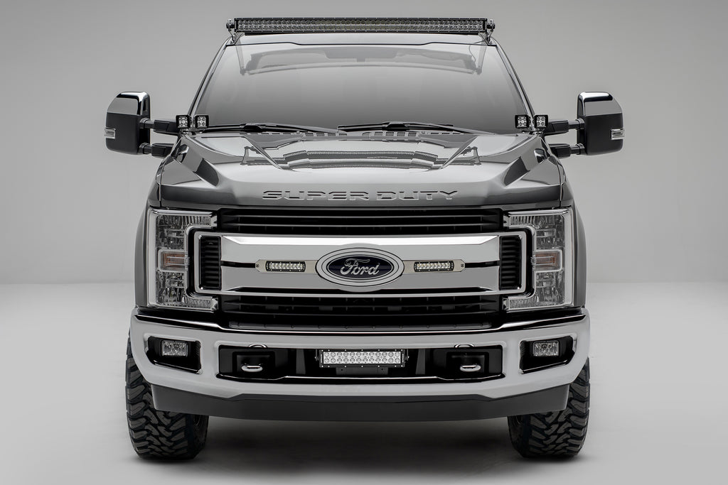 LOWER BUMPER MOUNT KIT 2017-2019 F-250/F-350 SUPERDUTY W/12 INCH LED BAR LIGHT AND WIRE HARNESS ZROADZ