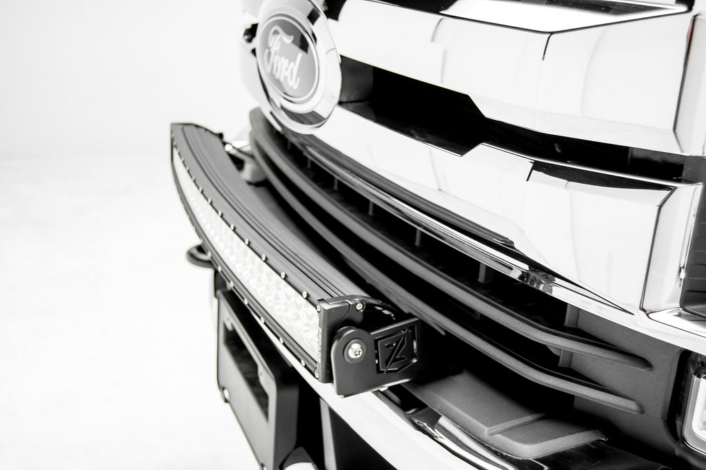 FRONT BUMPER TOP LED LIGHT BAR KIT 2017-2019 FORD F-250/F-350 SUPERDUTY W/30 INCH CURVED LIGHT AND HARNESS ZROADZ