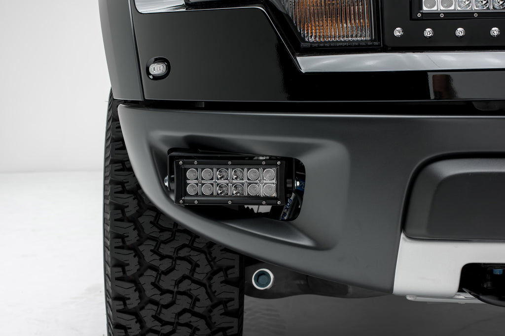 FRONT BUMPER SIDE OPENING LED LIGHT BAR MOUNT KIT 10-14 FORD F-150 RAPTOR W/TWO 6 INCH LED LIGHT BARS INCLUDES UNIVERSAL WIRING HARNESS ZROADZ