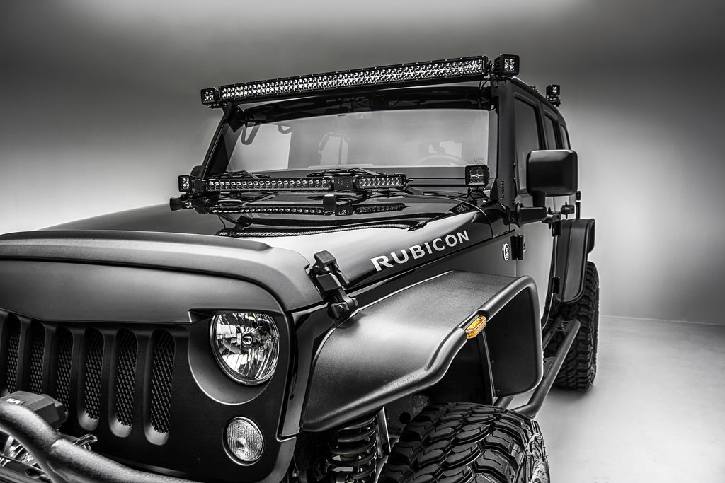 HOOD HINGES TOP MULTI LED MOUNTING KIT 2007-2018 WRANGLER JK W/ ONE 20 INCH SINGLE ROW SLIM LINE COMBO BEAM 100 WATT LED LIGHT AND TWO 6 INCH 30 WATT LEDS INCLUDES UNIVERSAL WIRING HARNESSES