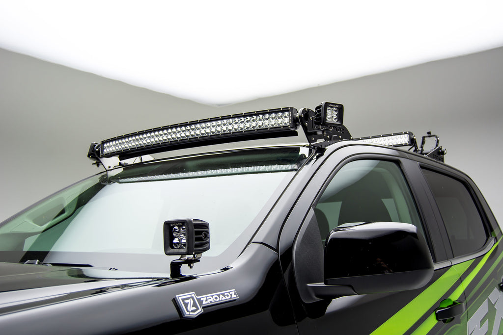 HOOD HINGES LED LIGHT BAR MOUNT KIT 2015-2019 COLORADO/CANYON BY A PILLAR W/ TWO 3 INCH CUBE LED WORK LIGHTS ZROADZ