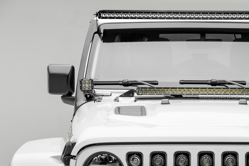 ROOF LEVEL MOUNTING KIT 2018 WRANGLER JL W/ TWO 3 INCH LED PODS AND 50 INCH SINGLE ROW LIGHT BAR