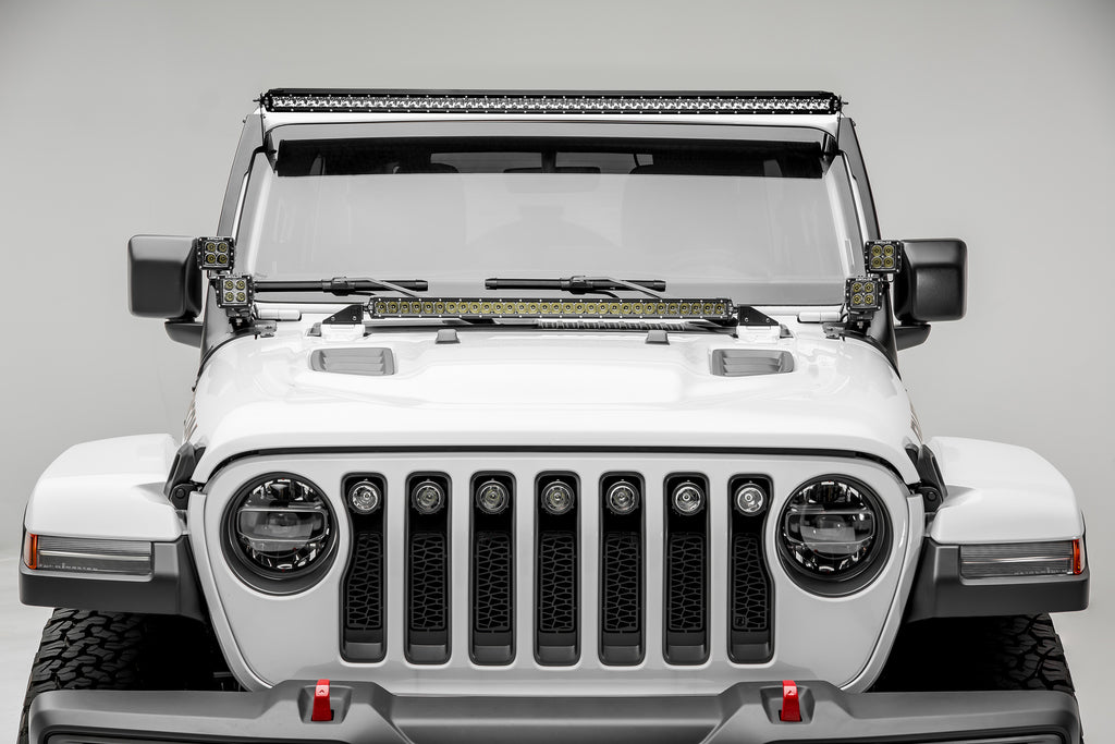ROOF LEVEL MOUNTING KIT 2018 WRANGLER JL W/ FOUR 3 INCH LED PODS AND ONE 50 INCH SINGLE ROW LIGHT BAR