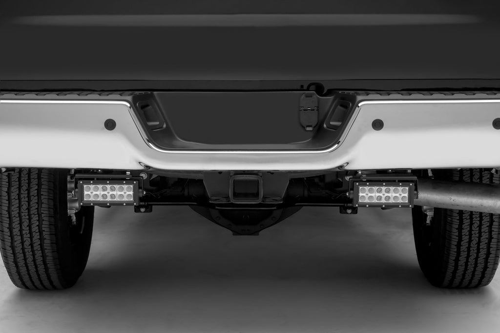 REAR BUMPER FRAME LED LIGHT BAR MOUNT KIT 2015-2018 DODGE RAM 1500 SWIVEL ADJUSTMENTS W/ TWO 6 INCH LEDS ZROADZ