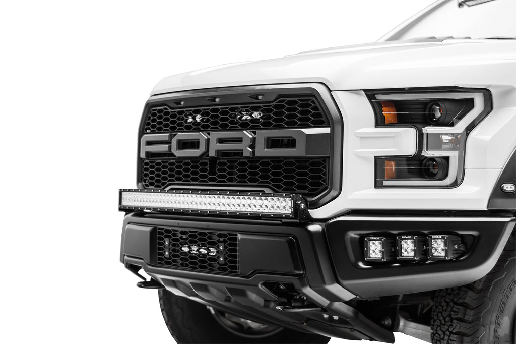 OEM LOWER GRILLE MOUNTING KIT BLACK 2017-2018 FORD F-150 RAPTOR INCLUDES ONE 10 INCH SLIM SINGLE ROW LED LIGHT BARS & WIRE HARNESS
