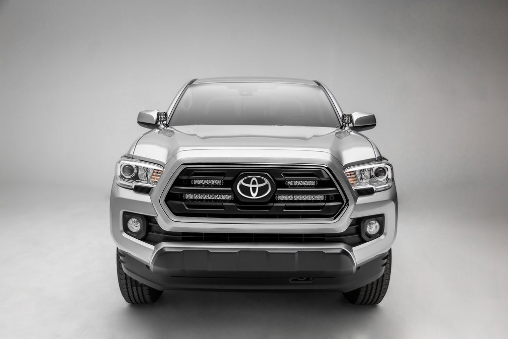 OEM GRILLE MOUNTING KIT BLACK 2018-2018 TOYOTA TACOMA INCLUDES TWO 6 INCH & TWO 10 INCH SLIM SINGLE ROW LED LIGHT BARS & WIRE HARNESS
