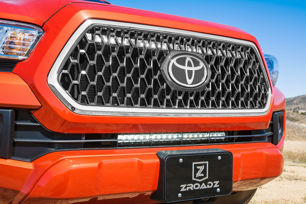 OEM UPPER GRILLE MOUNTING KIT BLACK 2018-2018 TOYOTA TACOMA INCLUDES ONE 30 INCH SLIM SINGLE ROW LED LIGHT BAR & WIRE HARNESS