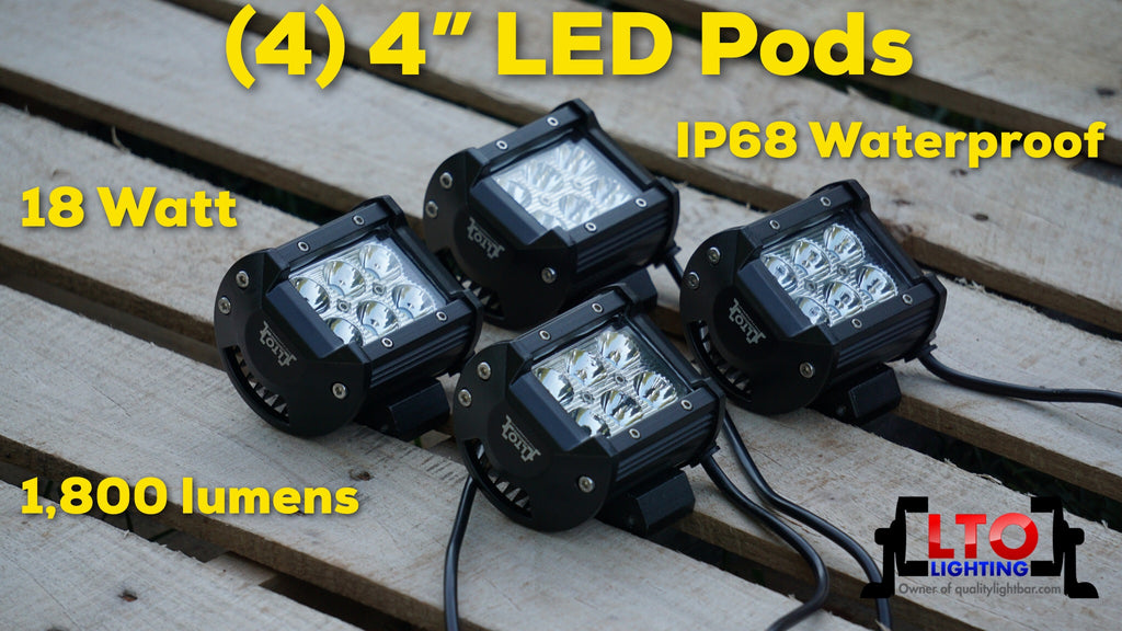 "Pack of (4) 4"" Universal LED Pods"