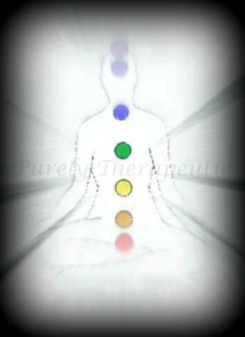 7 Chakras of the human body with radiating aura