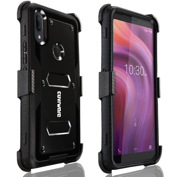 Alcatel 3V (2019) Case, COVRWARE [ Aegis Series ] with Built-in [Screen Protector] Heavy Duty Full-Body Rugged Holster Armor Case [Belt Swivel Clip][Kickstand]