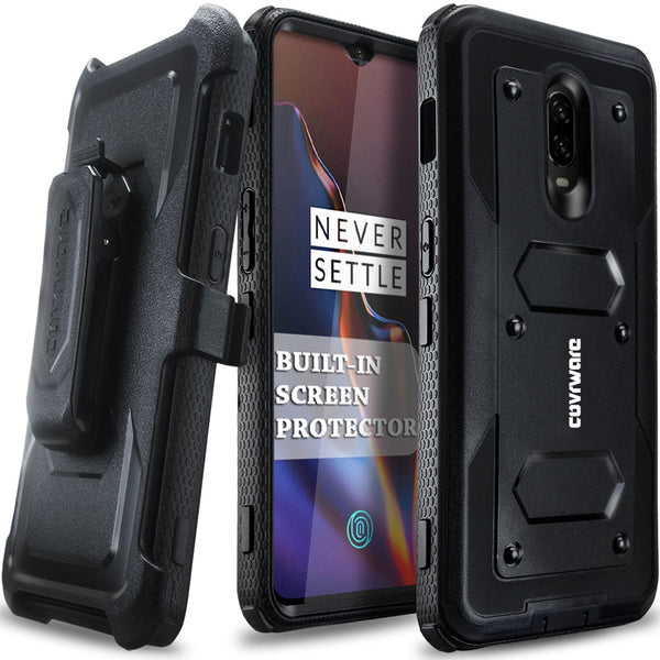 OnePlus 6T Case, COVRWARE [ Aegis Series ] Case with [ Built-in Screen Protector] Heavy Duty Full-Body Rugged Holster Armor Case [Belt Swivel Clip][Kickstand] for 1+ 6T 2018 Release